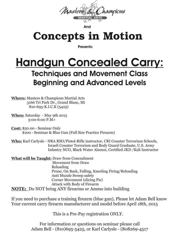 Adam Bell Handgun Movement Flyer