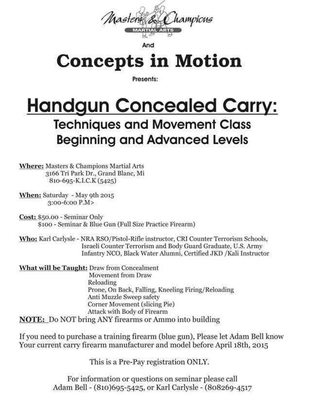 Adam Bell Handgun Movement Flyer