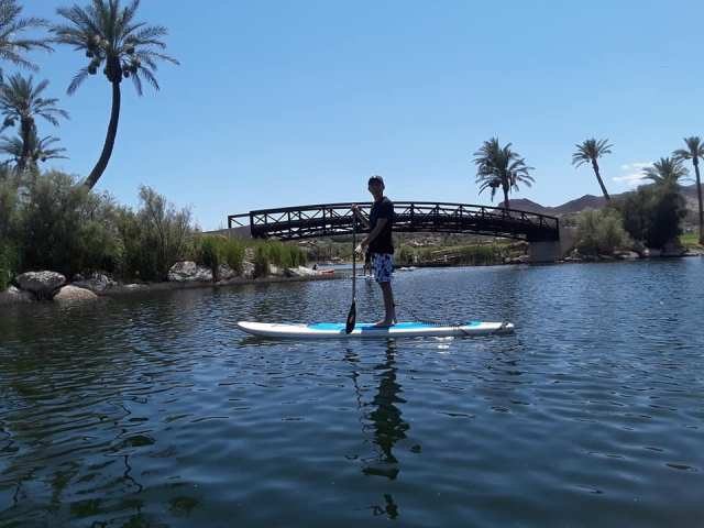 jacob paddle boarding Lake Las Vegas